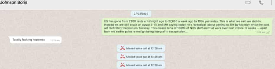 WhatsApp messages published by Dominic Cummings.