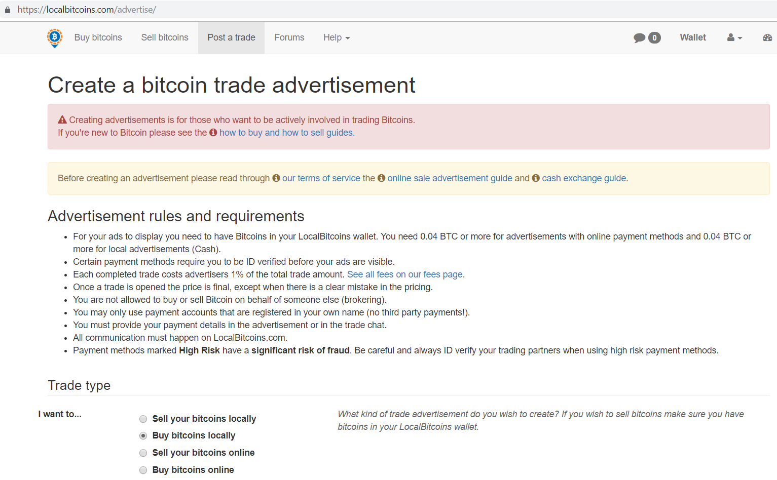 Create a bitcoin trade advertisement screen.