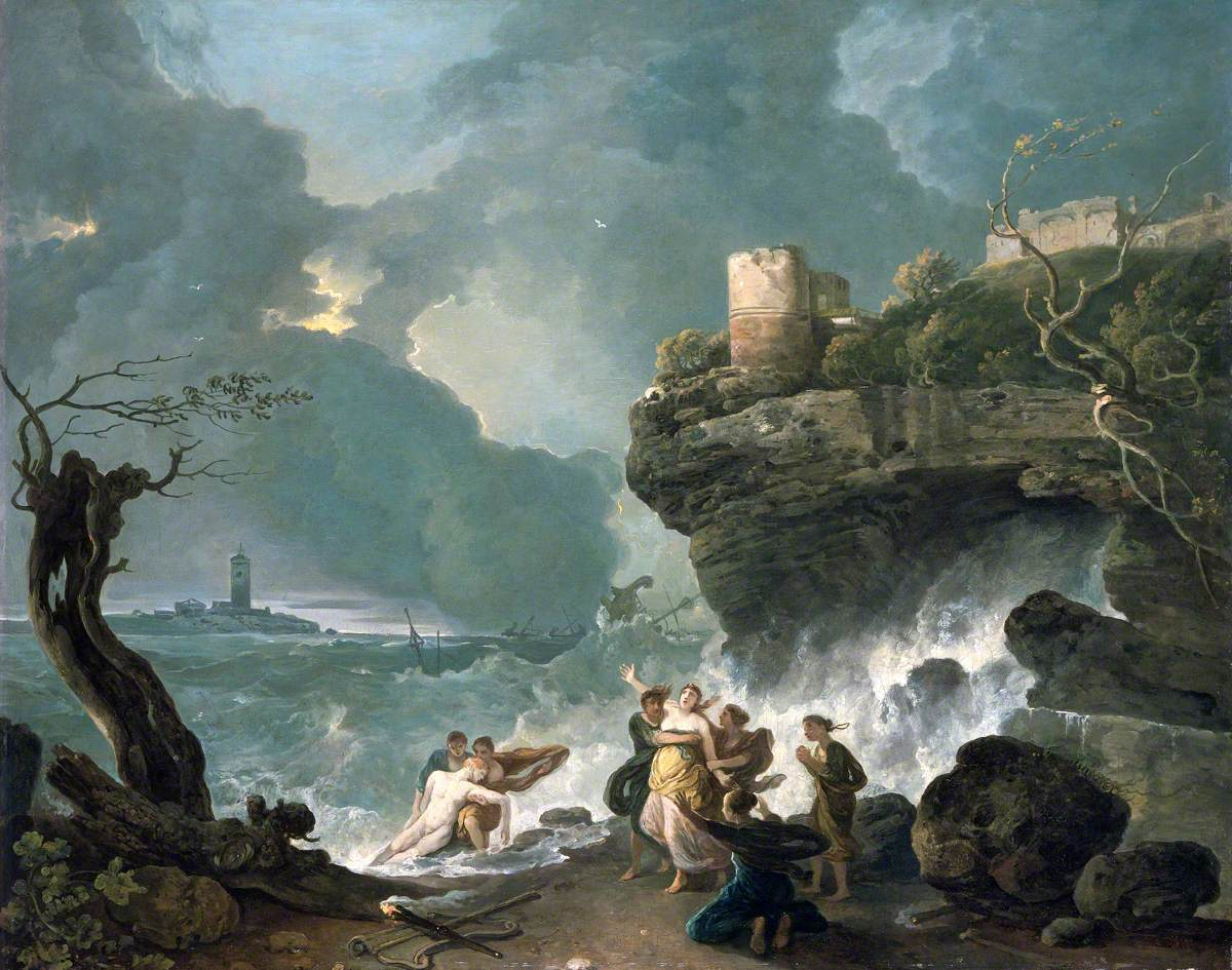 Ceyx and Alycone's tragic meeting on the shore of Trachis. Mythical love stories: Richard Wilson, Ceyx and Alycone, 1760s, National Museum Wales, Cardiff, Wales.