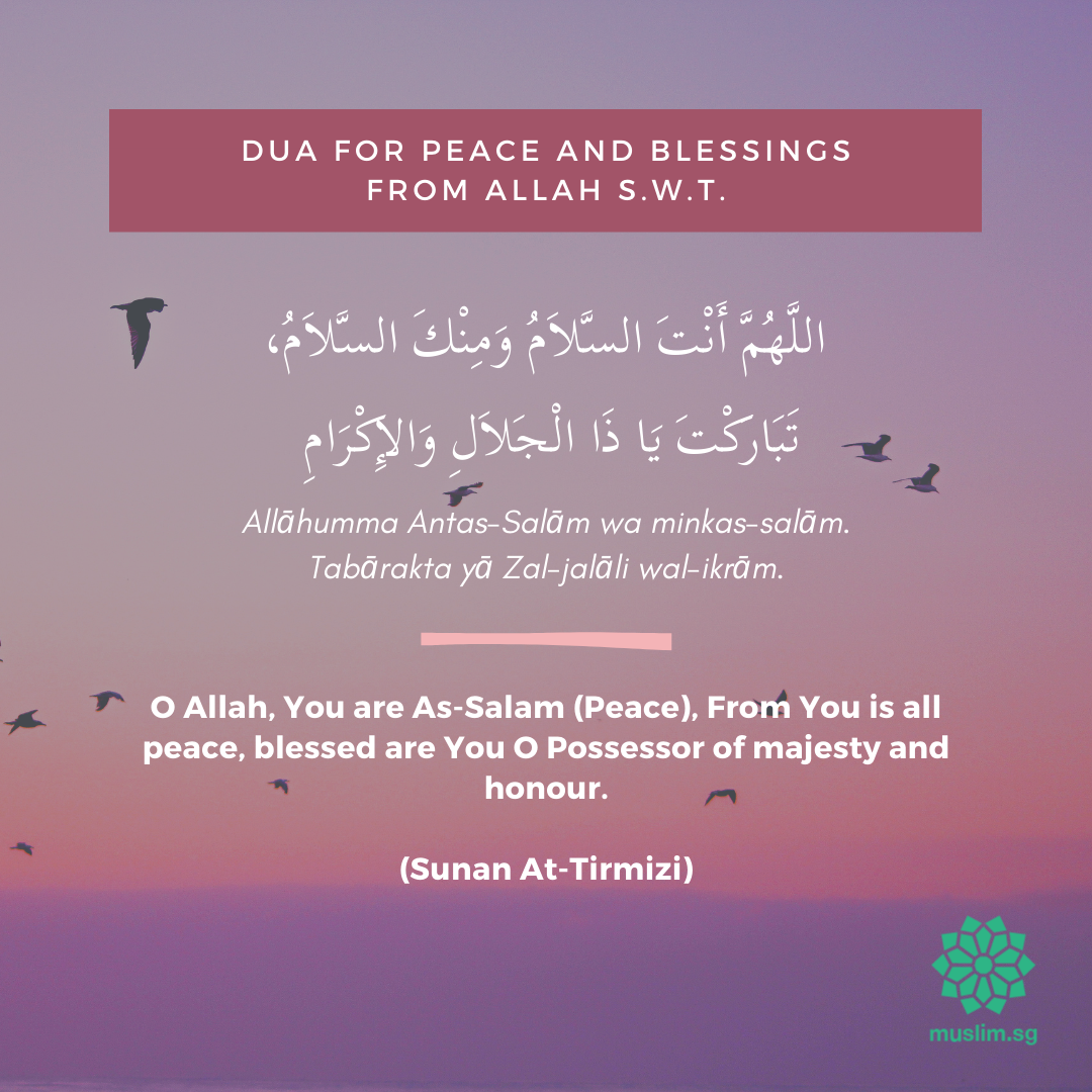 dua for peace and blessings after prayer
