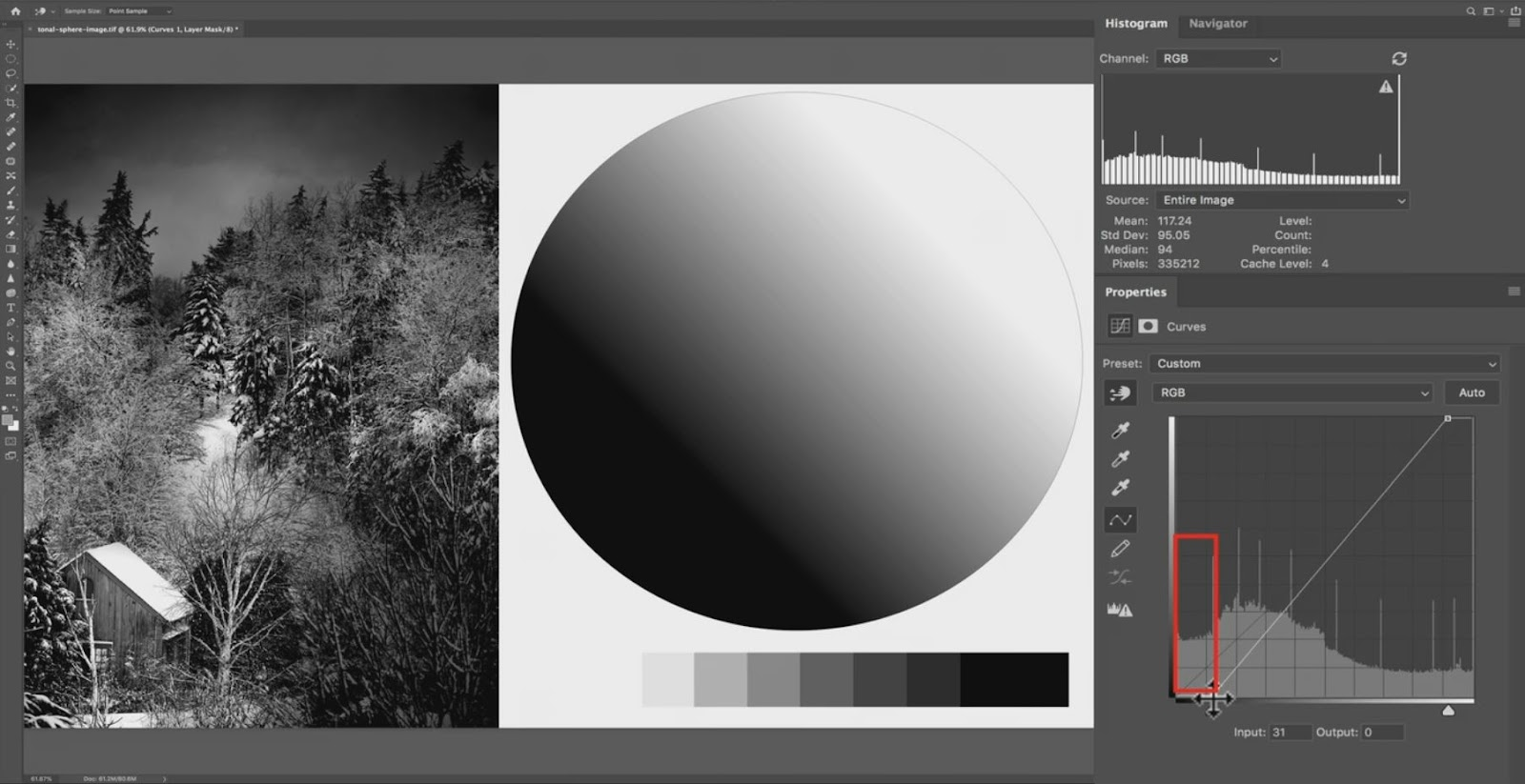 changing tones in the histogram