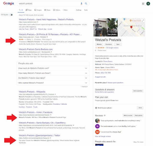 wetzels-pretzels-google search