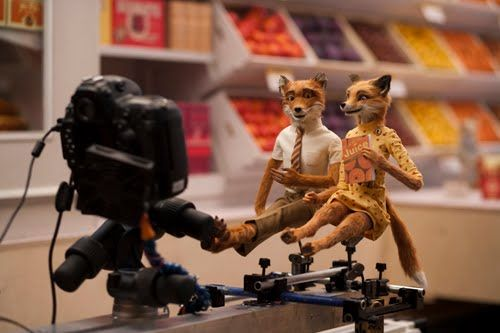 Behind the scenes of Fantastic Mr Fox. The stop motion models of Mr and Mrs Fox are sitting side by side, with a camera set up on a rig in front of them.