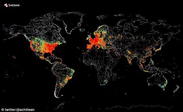 """Connecté: le cartographe d'Internet basé en Texas et l'informaticien John Matherly ont utilisé des logiciels pour """"faire de la balade"""" des appareils Web globaux pour créer une carte (illustrée) démontrant la portée mondiale de la technologie"""
