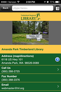 Amanda Park Branch of the Timberland Library in the Library Now App
