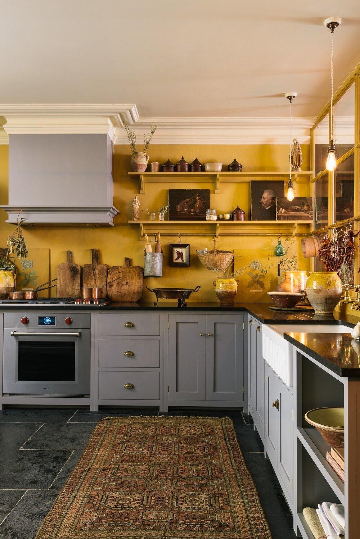 sárga - szürke vintage konyha