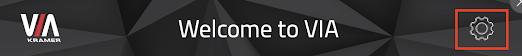 Welcome to VIA, VIA logo in left corner, settings symbol in right corner