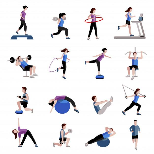 Fitness cardio exercise and equipment for men women two tints flat icons collections Free Vector