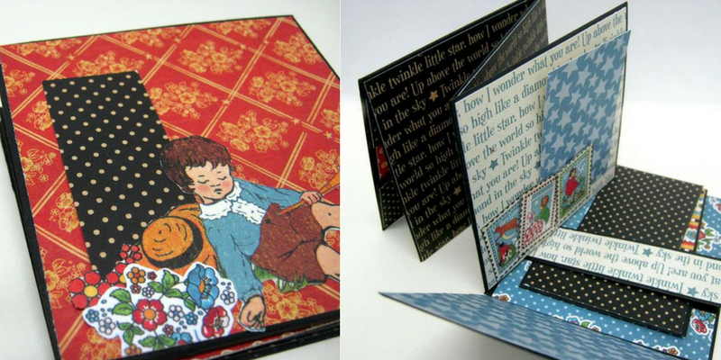 One Sheet Interactive Mini Album, Graphic 45, Mother Goose, Einat Kessler.png