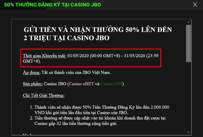 Thời gian diễn ra sự kiện khuyến mãi đăng ký JBO Casino