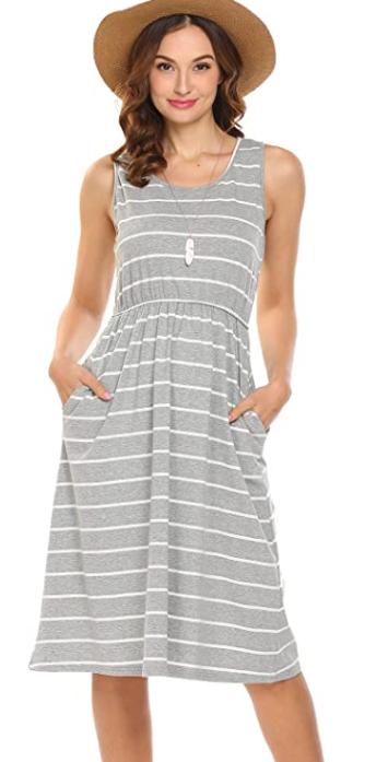 grey striped summer dress