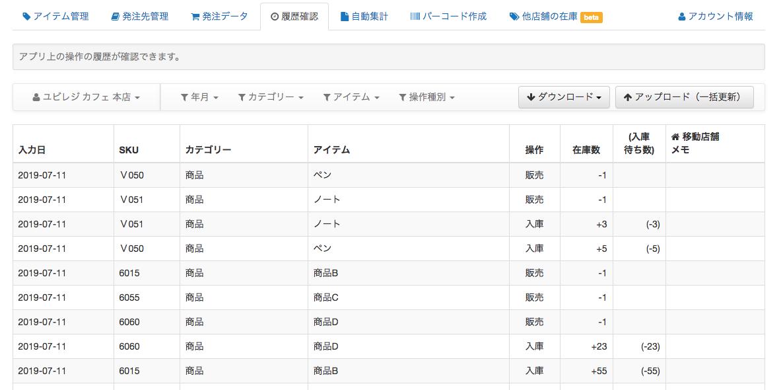 スマート在庫管理「ユビレジ在庫管理」の画面