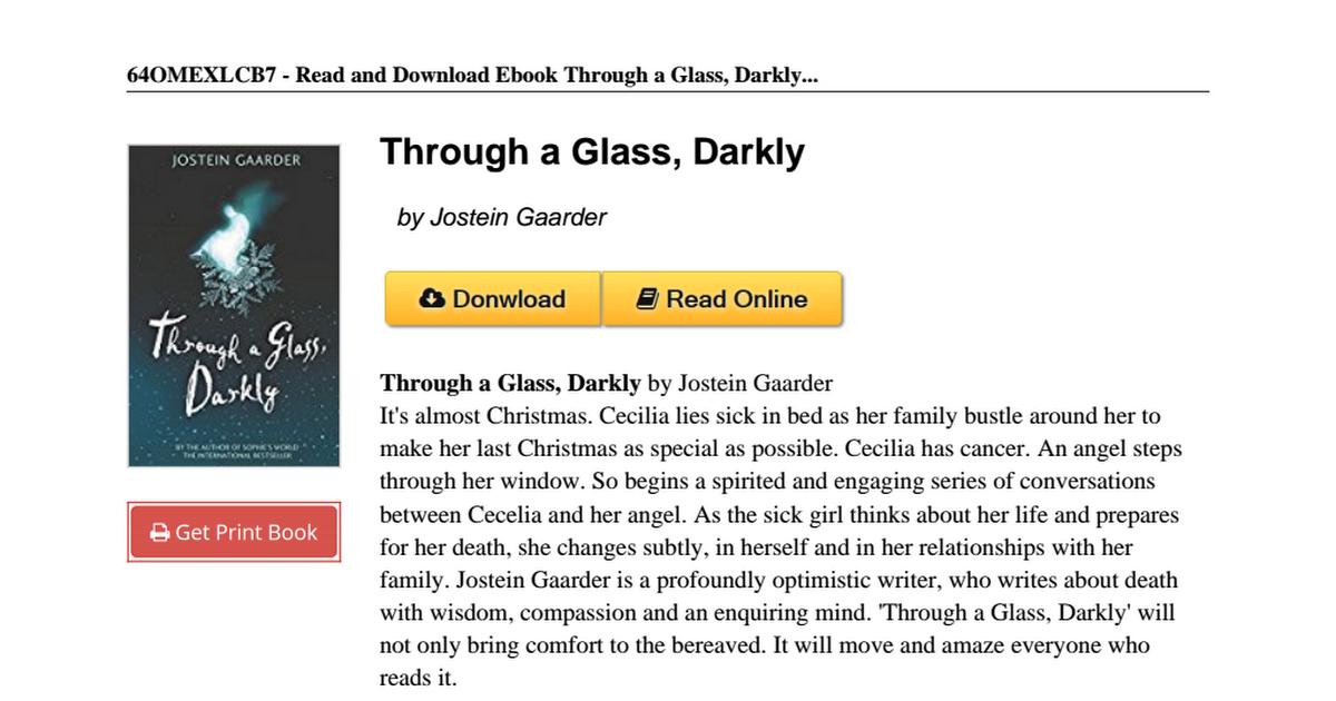 Through glass darkly jostein gaarder 1858817692pdf google drive fandeluxe Images