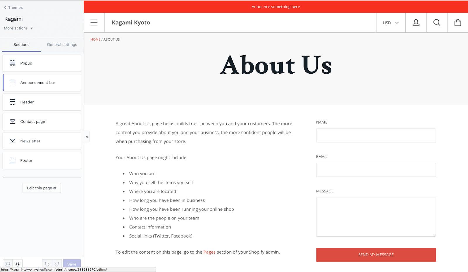 Shopify contact us page