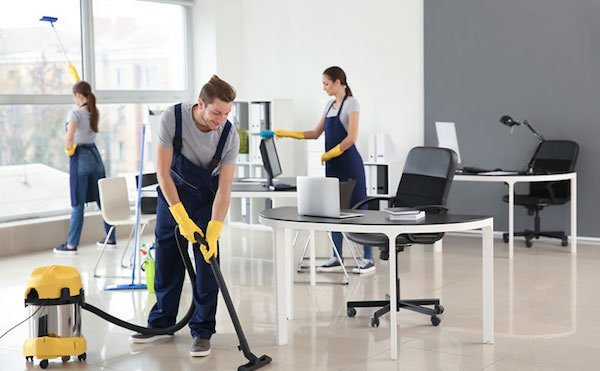 A professional commercial cleaning service have to wear its own uniform and identification cards