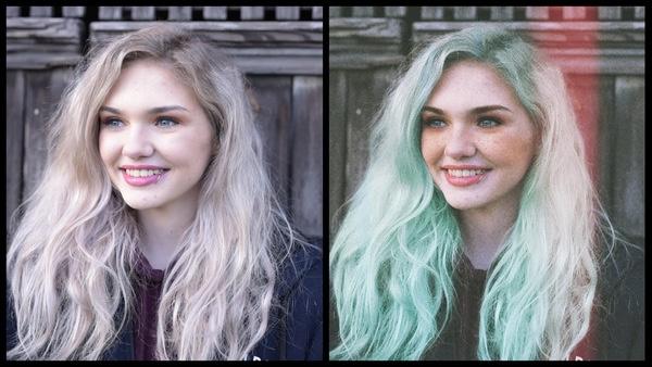 antes e depois da foto de uma mulher sendo que em uma foto ela está com o cabelo verde a na outra com o cabelo loiro