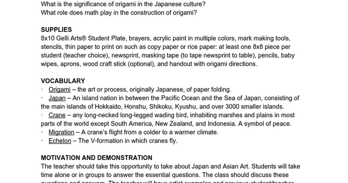 LESSON TITLE: Origami Cranes - Google Docs
