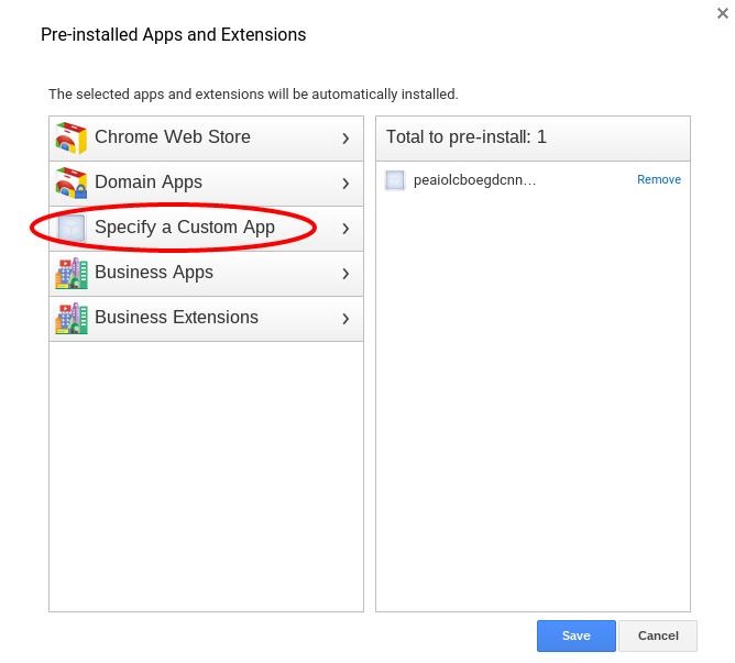 select 'Specify a Custom App'.