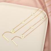 Korean Style Titanium Steel Creative Necklace Women Cool Simple Love Letter Pendant 18K Rose Gold Tassel Choker