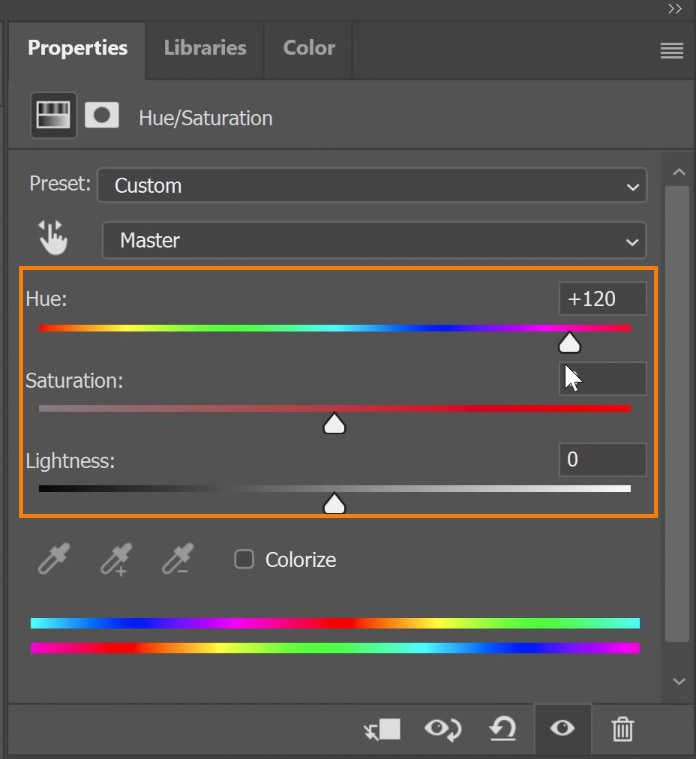 Adjust the Hue, Saturation, and Lightness sliders