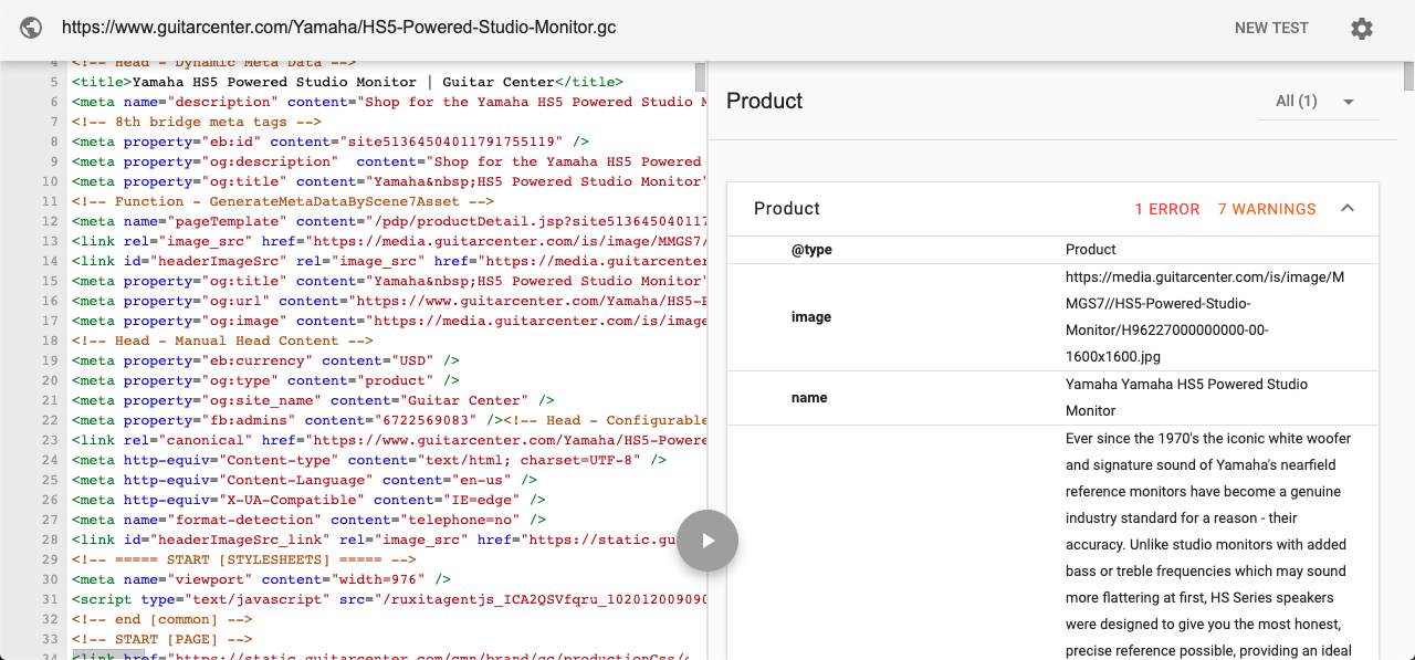 Product schema code on google