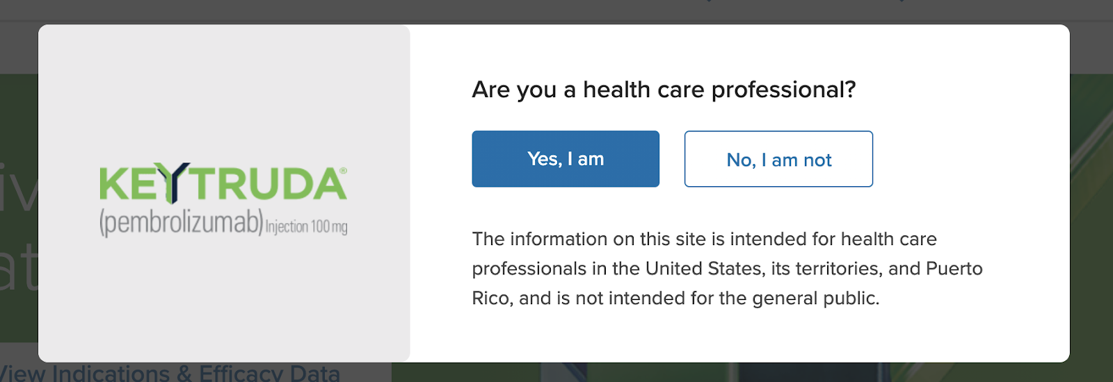 Screenshot from Keytrudahcp.com, showing the website is intended only for US healthcare professionals