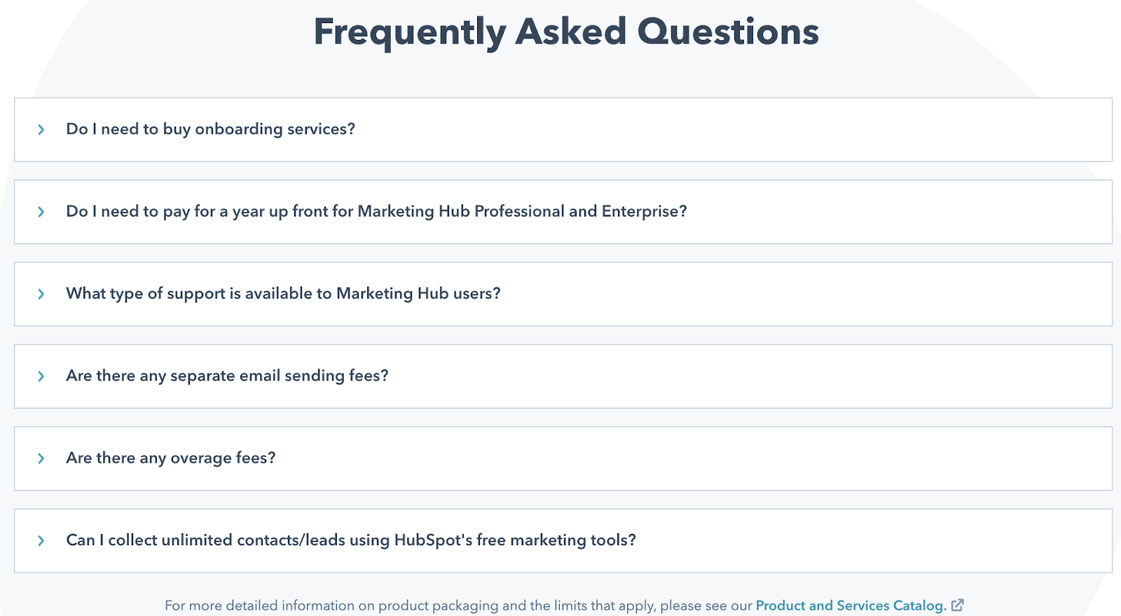 HubSpot pricing page frequently asked questions.