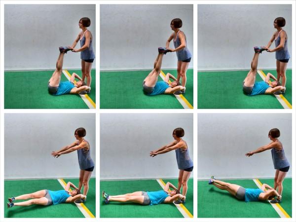 demonstrating partner leg throws