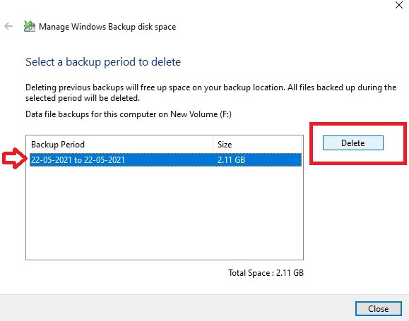 Choose a Backup from the menu that corresponds to a time you are comfortable removing.