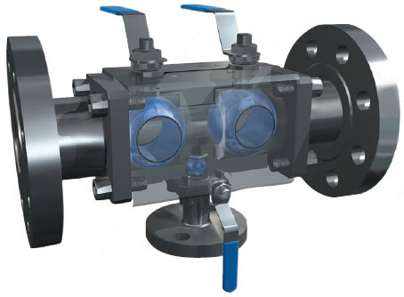 Internal structure of double block and bleed valve