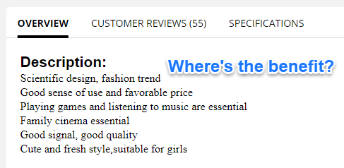 Bad Product Descriptions Example