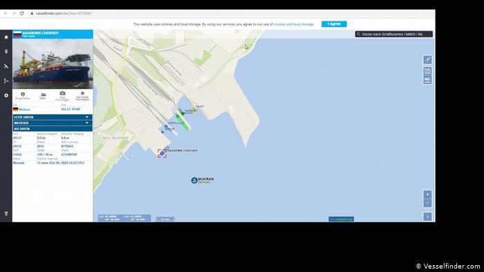 Скриншот сайта Vesselfinder с обозначением позиции Академика Черского в германском порту Мукран