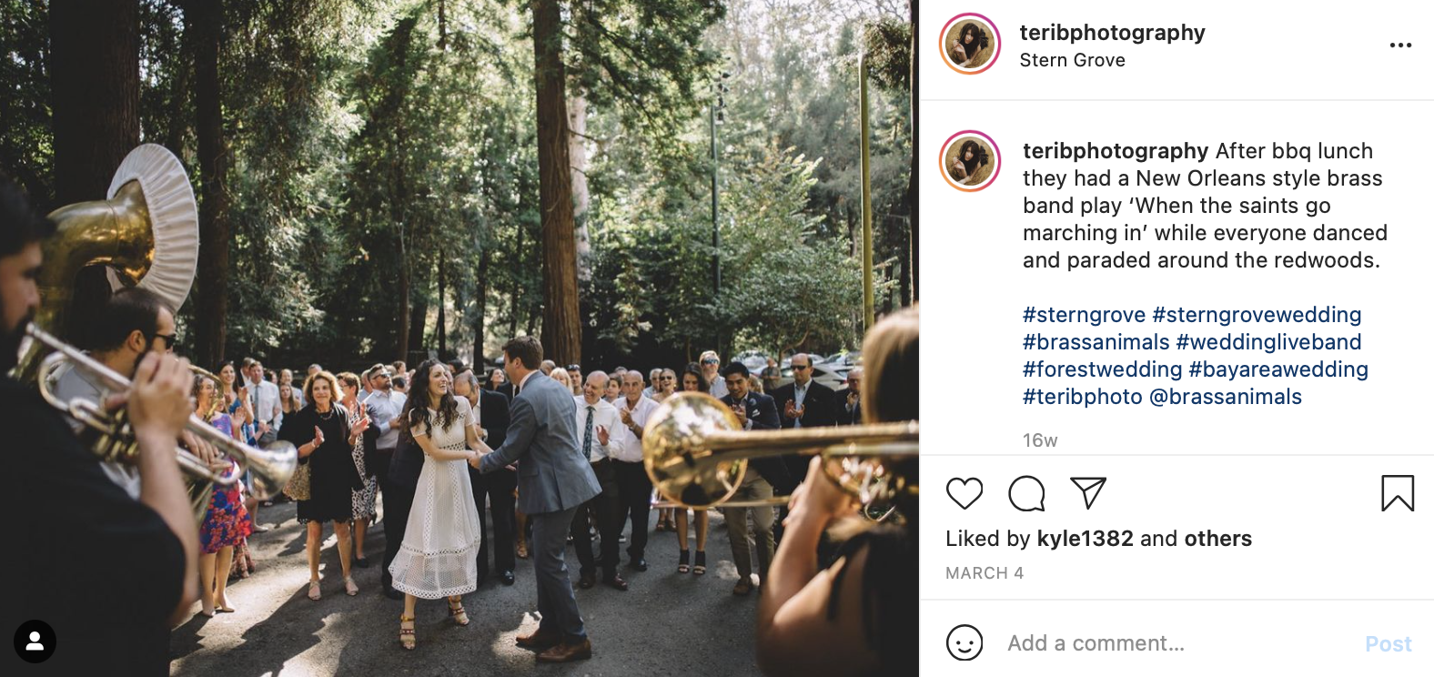 a bride and groom dance outdoors to live music