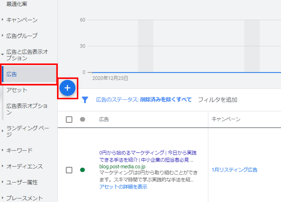 google広告の管理画面