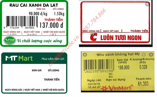 Các mẫu tem cân điện tử phổ biến trong các  hệ thống siêu thị và cửa hàng tiện ích