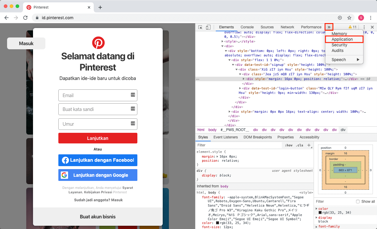Memilih menu Application di dalam Inspect Element Google Chrome.