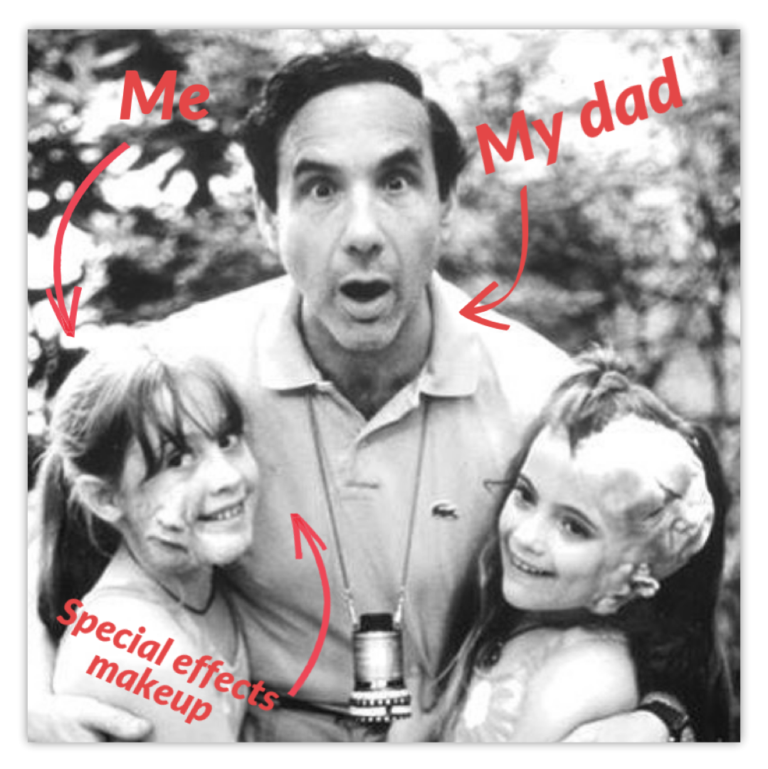 Lisbeth Kaufman, CEO of KitSplit, with her father Lloyd Kaufman President of Troma Entertainment and her sister Charlotte Kaufman, Film Producer and Director of Photography, circa 1996.