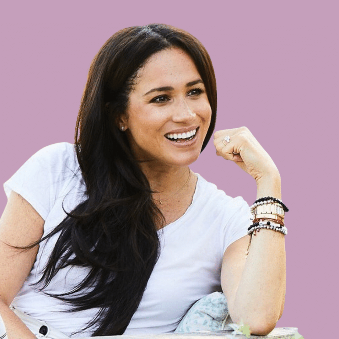 Photo of Meghan Markle wearing her luxury Cartier Tank heirloom with 5 bracelets around the watch. Which is how you can cause scratches on the watch.