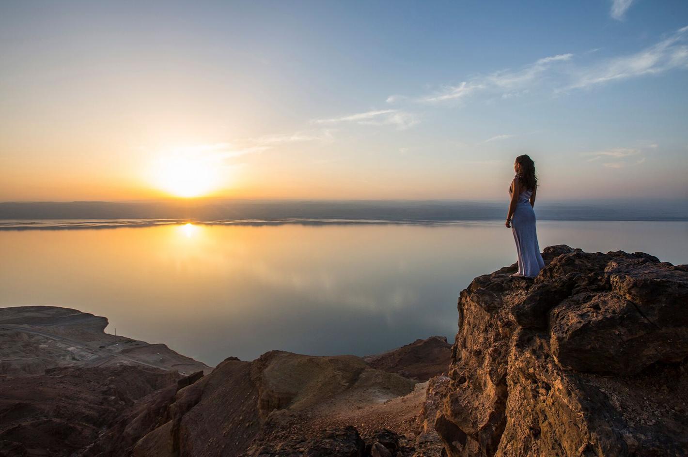 Reilly Folsom looking at the Dead Sea, Jordan