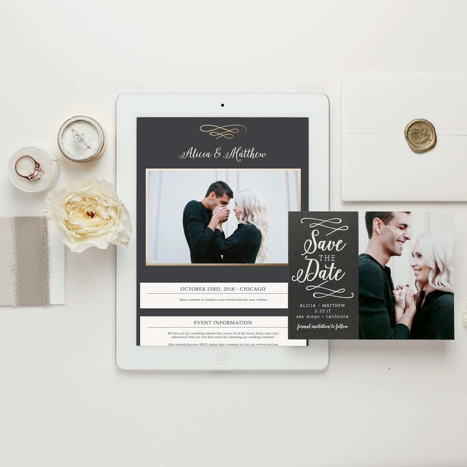 iPad displaying wedding website next to matching paper save the date card.