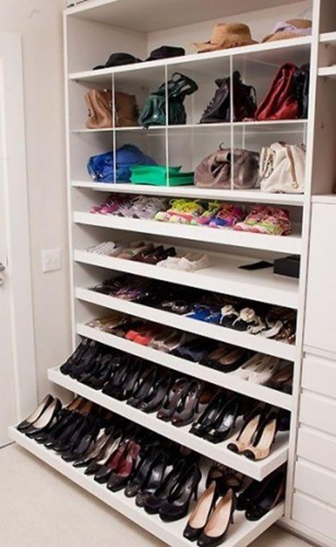 sapateira colmeia - Pesquisa Google   Layout de armário, Armazenamento de  armário, Organizador de armario
