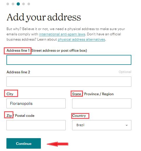 adicionar detalhes de configuração de conta no MailChimp