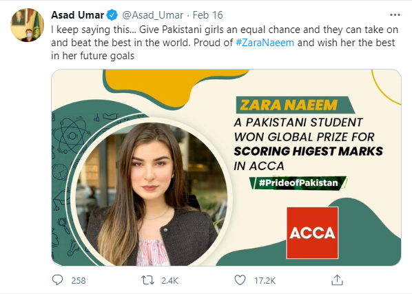 Asad Umar congratulated Zara Naeem Top scorer in ACCA