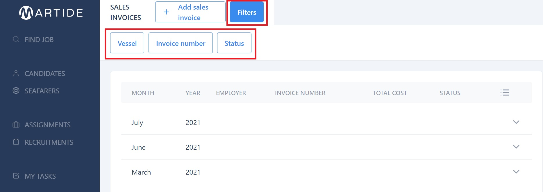 screenshot showing the filter buttons