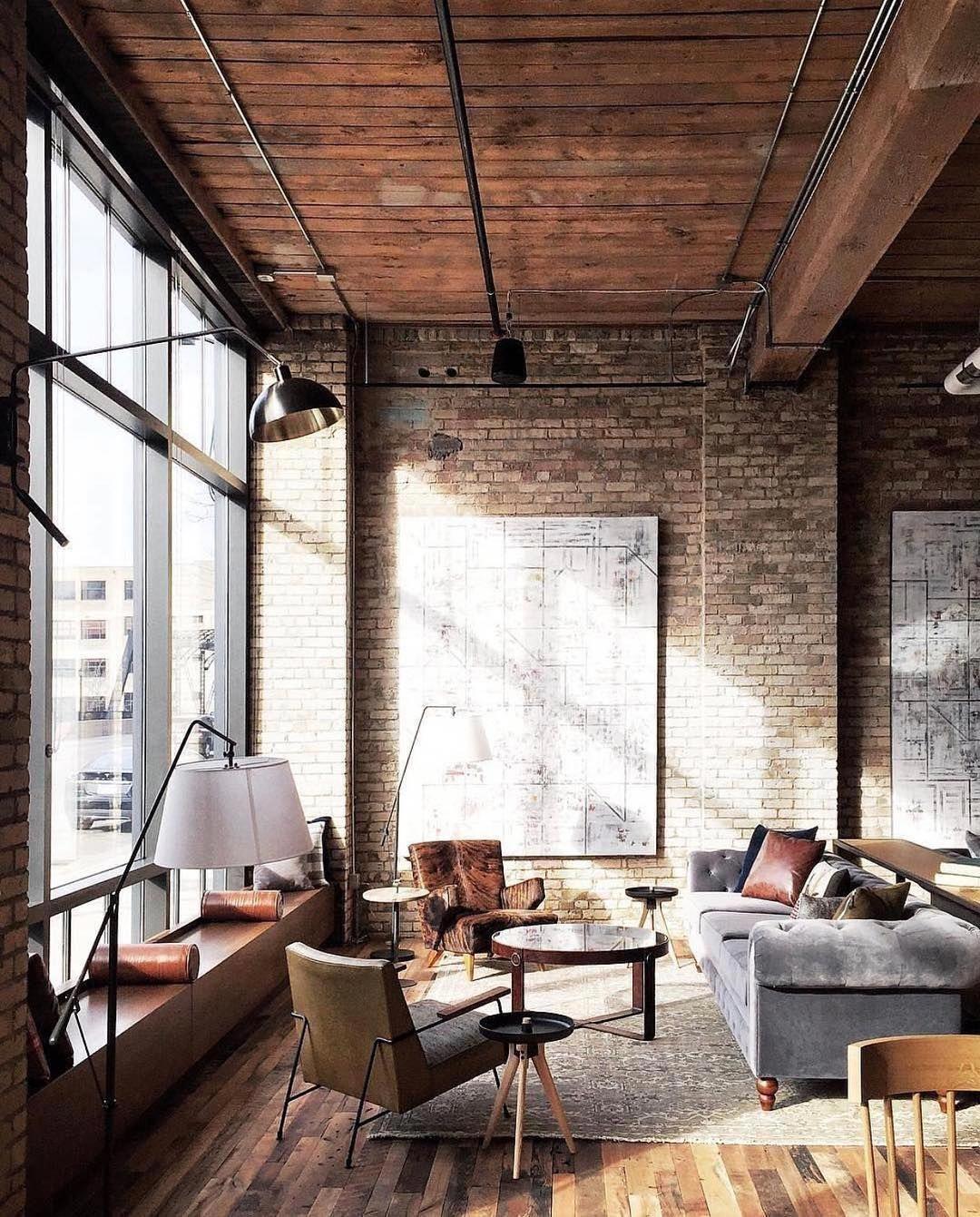 Inspirasi loft atau apartemen dengan desain interior industrial - source: pinterest.com