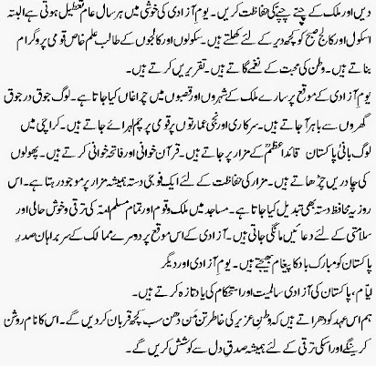 Essay on independence day in urdu