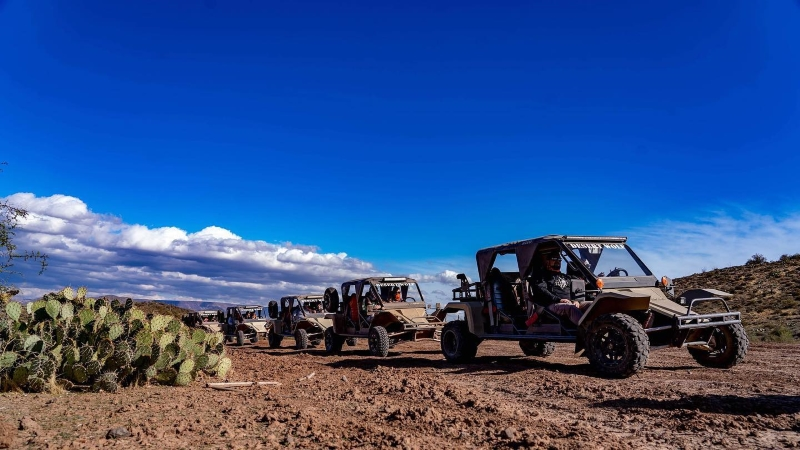 A tour group venturing out into the desert with Desert Wolf Tours in Phoenix, Arizona.