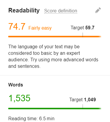 Readability score targeted and expected. No of words written and targeted