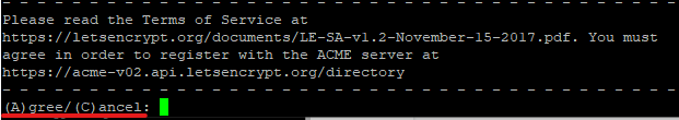 Opção de aceitar os Termos de Serviço do Let's Encrypt