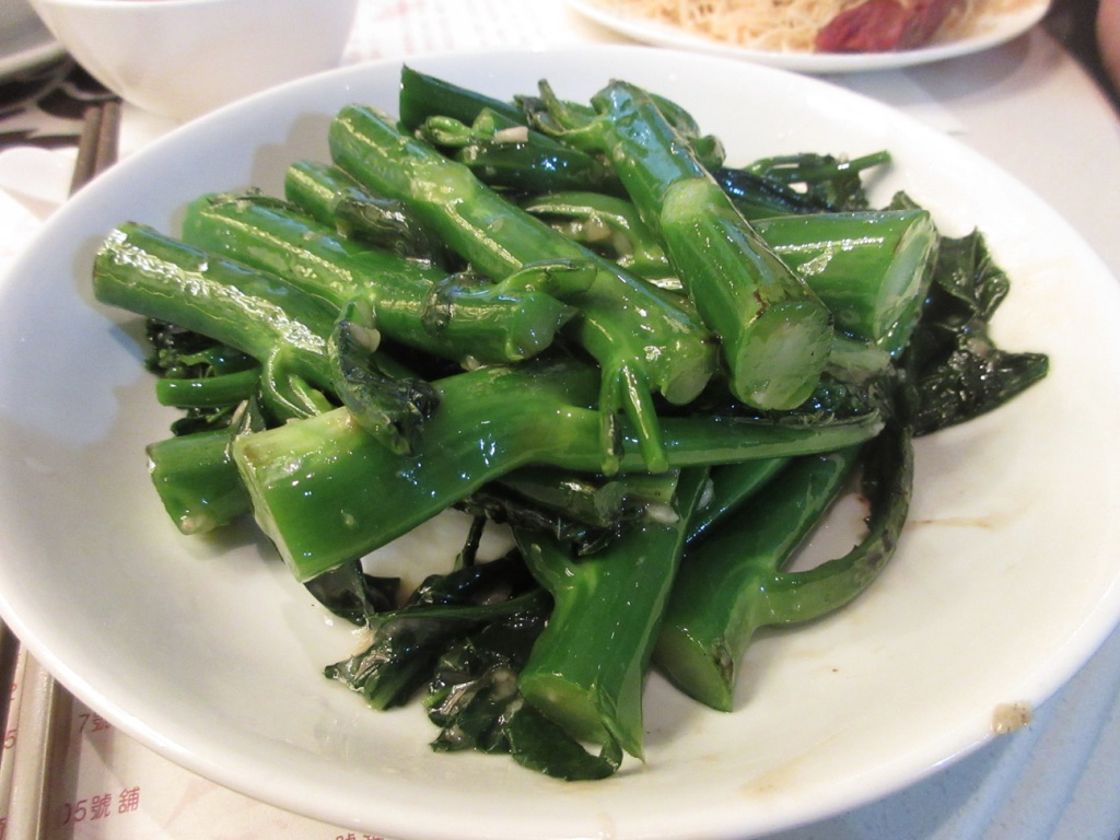 Sauteed Chinese Broccoli at Tasty Congee & Noodle Wunton Shop in Hong Kong